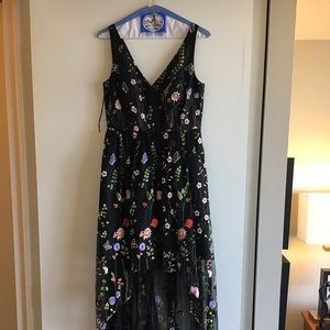 Adrianna Papell  Embroidered High-Low Gown, size 4